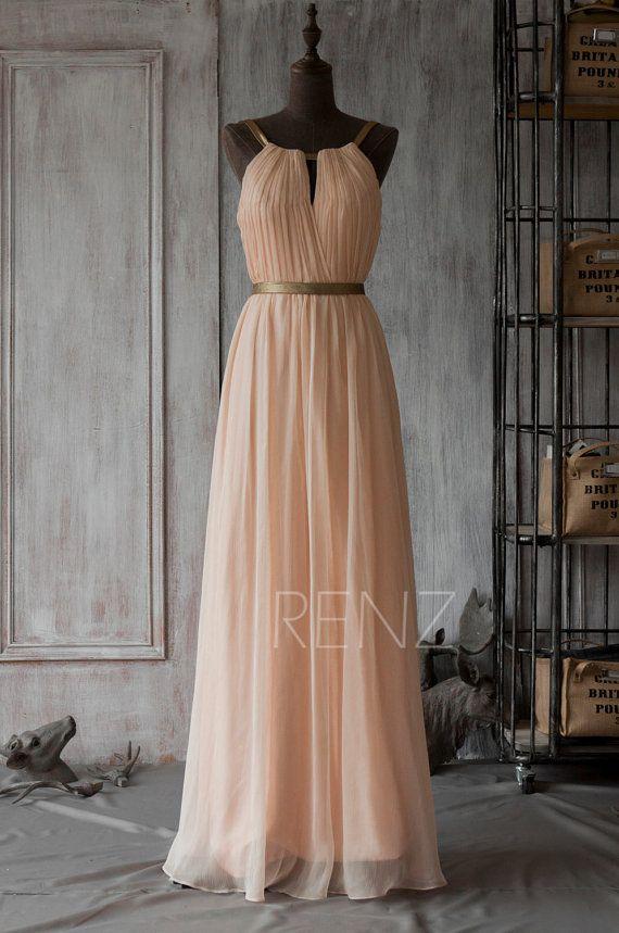 Long Bridesmaid Dress , Peach Prom Dress, Chiffon Wedding Dress ...