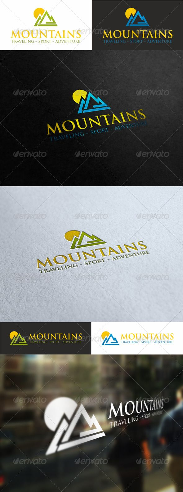 Sunny Mountains Traveling Sport Logo Sports Logo Green Logo Design Elegant Logo Design