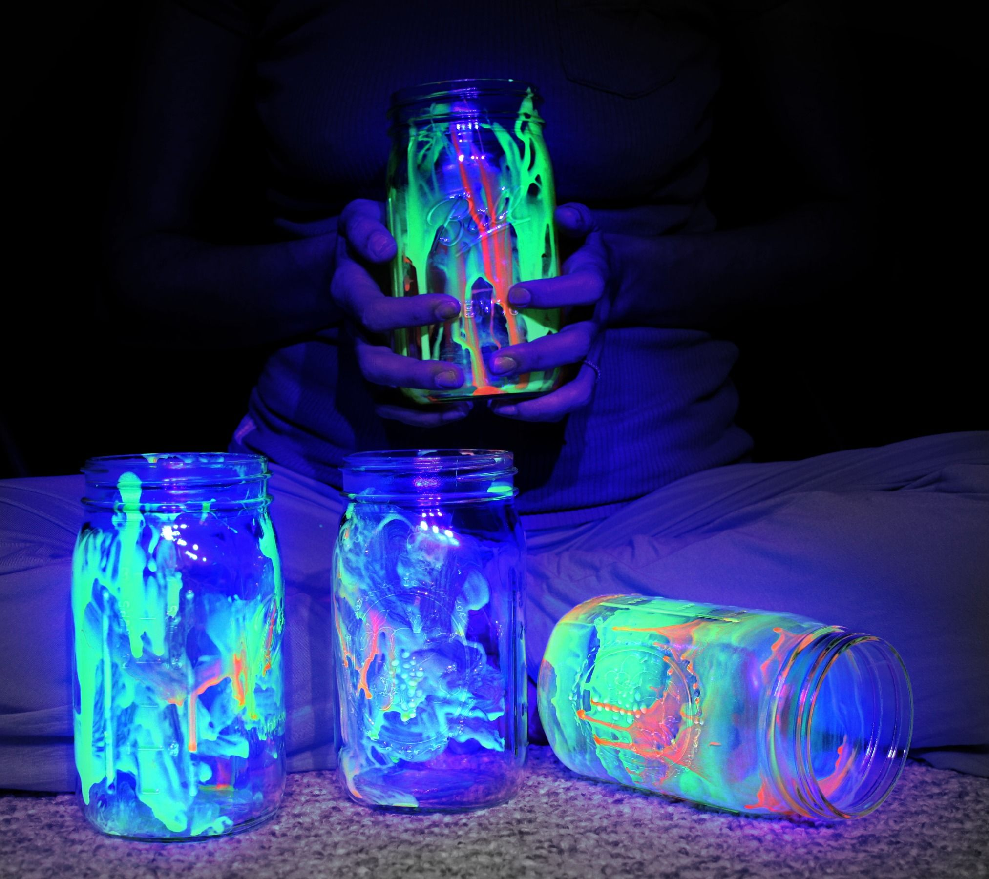 Glow In The Dark Jars, Glow In Black Light, With