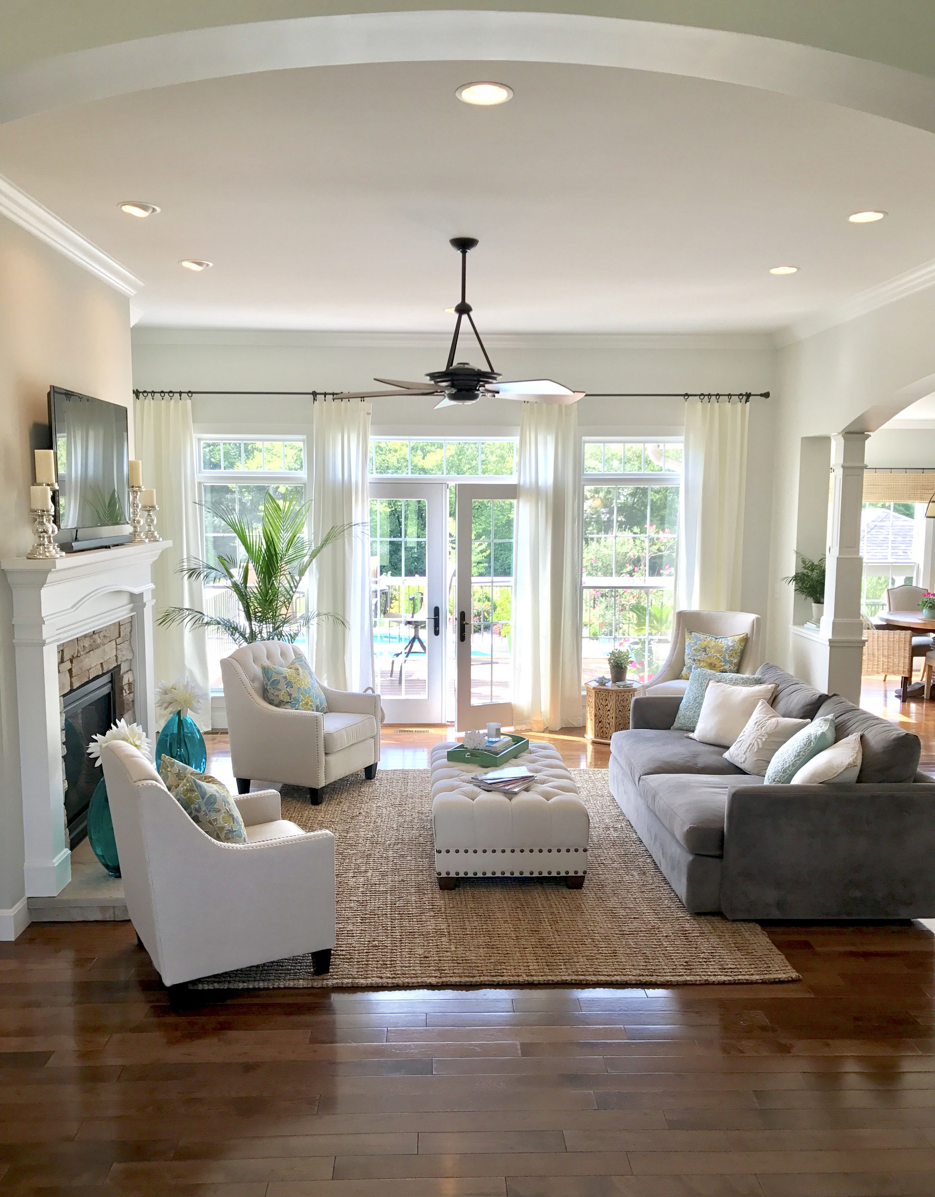 Open Concept Living Family Room With French Doors And Built Ins
