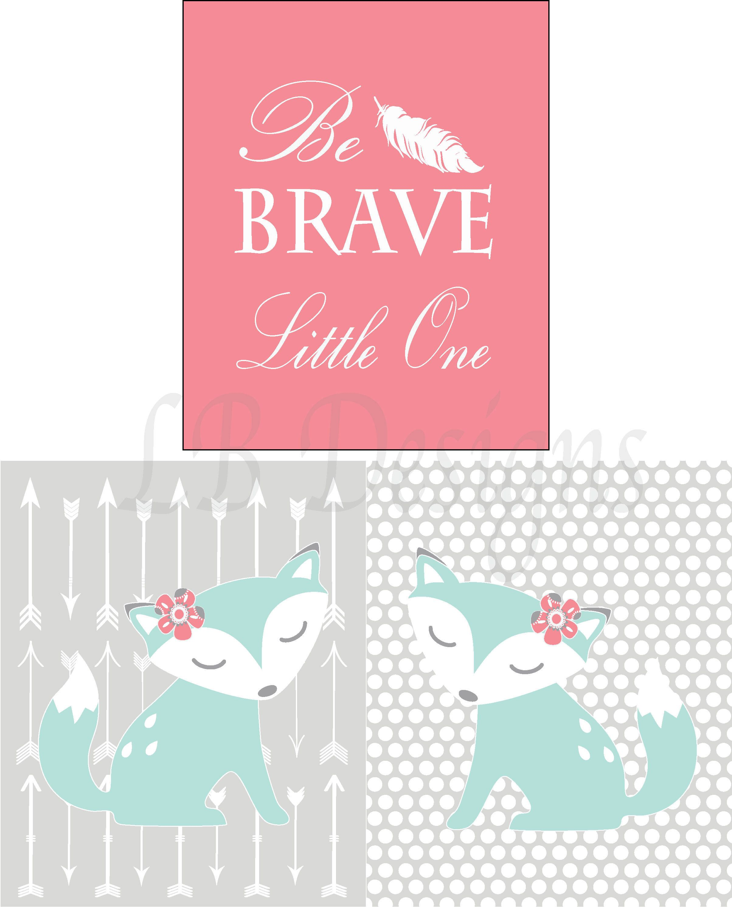 Baby Girl Woodland Nursery Print Girl Fox Nursery Decor Coral and