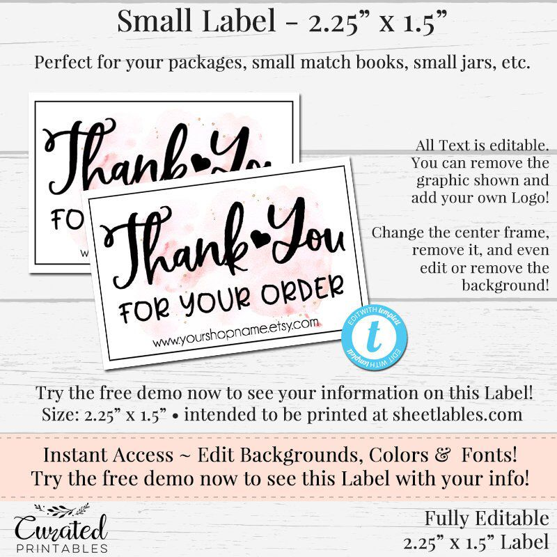 DIY Small Label, Editable Label, Small Product Label, DIY