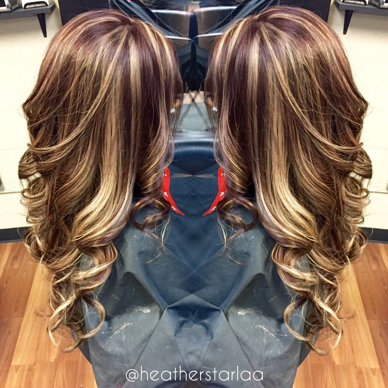 All over blonde highlight with a brown red base hairstyles
