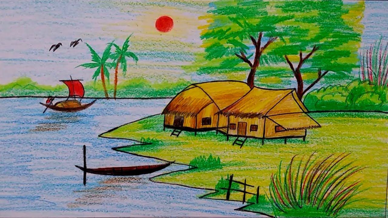 How To Draw Village Scenery Step By Step Easy Drawing