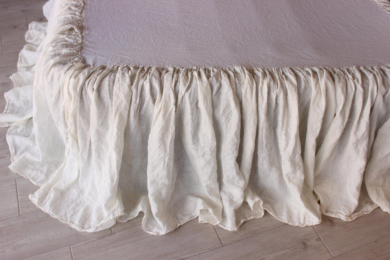 Linen Bedskirt Dust Ruffle Split Corners Organic Etsy Linen Bedskirt Shabby Chic Bedrooms Shabby Chic Bedding