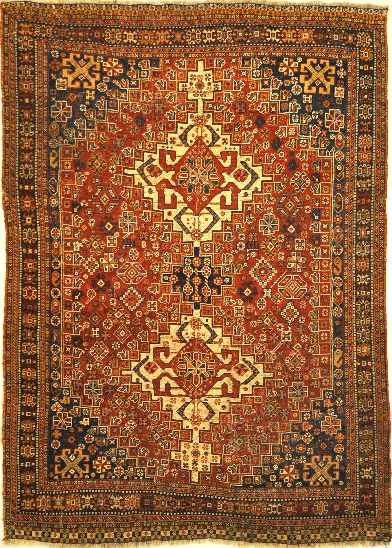 Antique Persian Qashqai Rug Santa