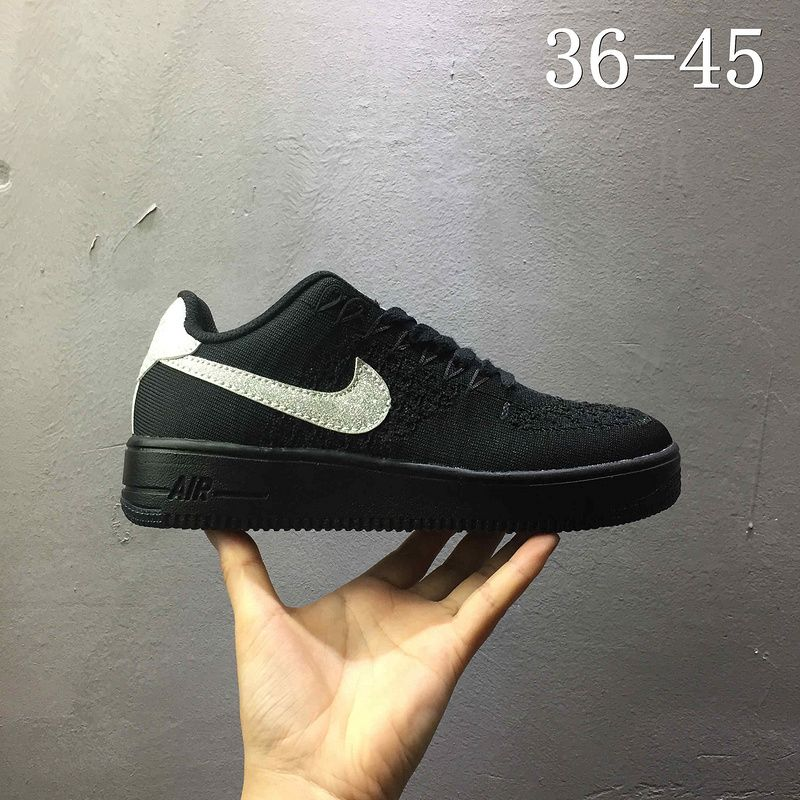 code promo 0c453 8f4a0 2018 Original Nike air force 1 AF1 Flyknit low Black Noir ...