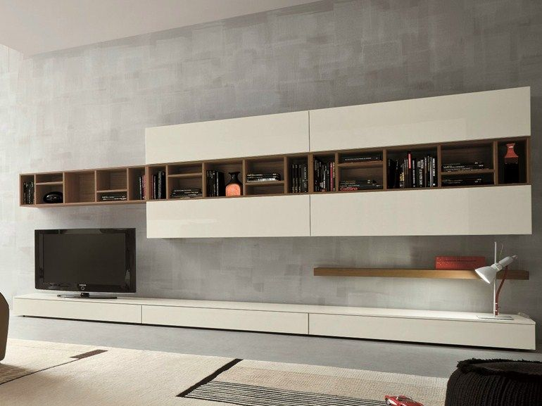 ensemble mural composable avec support tv slim 16 by dallagnese design imago design massimo rosa - Support Tv Design