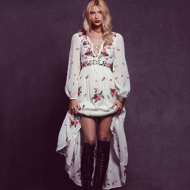 f2399018439 Longue robe femmes automne robe boho maxi bohème femail broderie V-cou  dentelle…