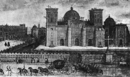 La catedral de la cd. De México en 1760 cuando sus torres estaba en construcción. Delante de ella se ve el panteón