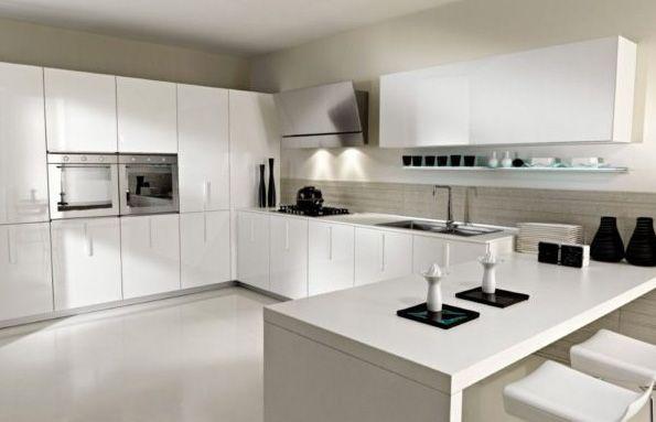 Cocina Blanca Moderna Con Sillas De Diario Salones Modernos In - Cocina-blanca-moderna