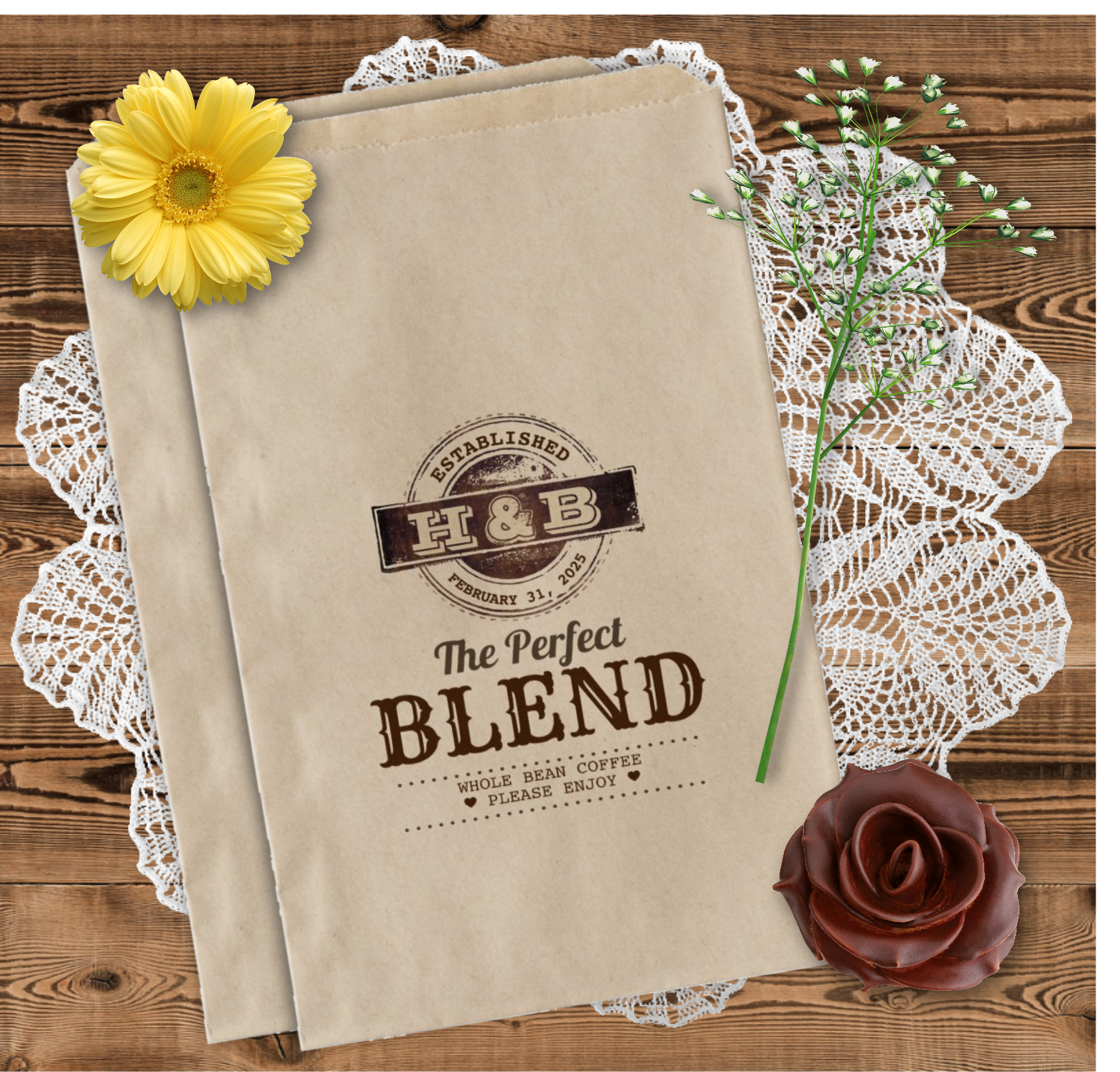 The Perfect Blend Wedding Coffee Favor Bags