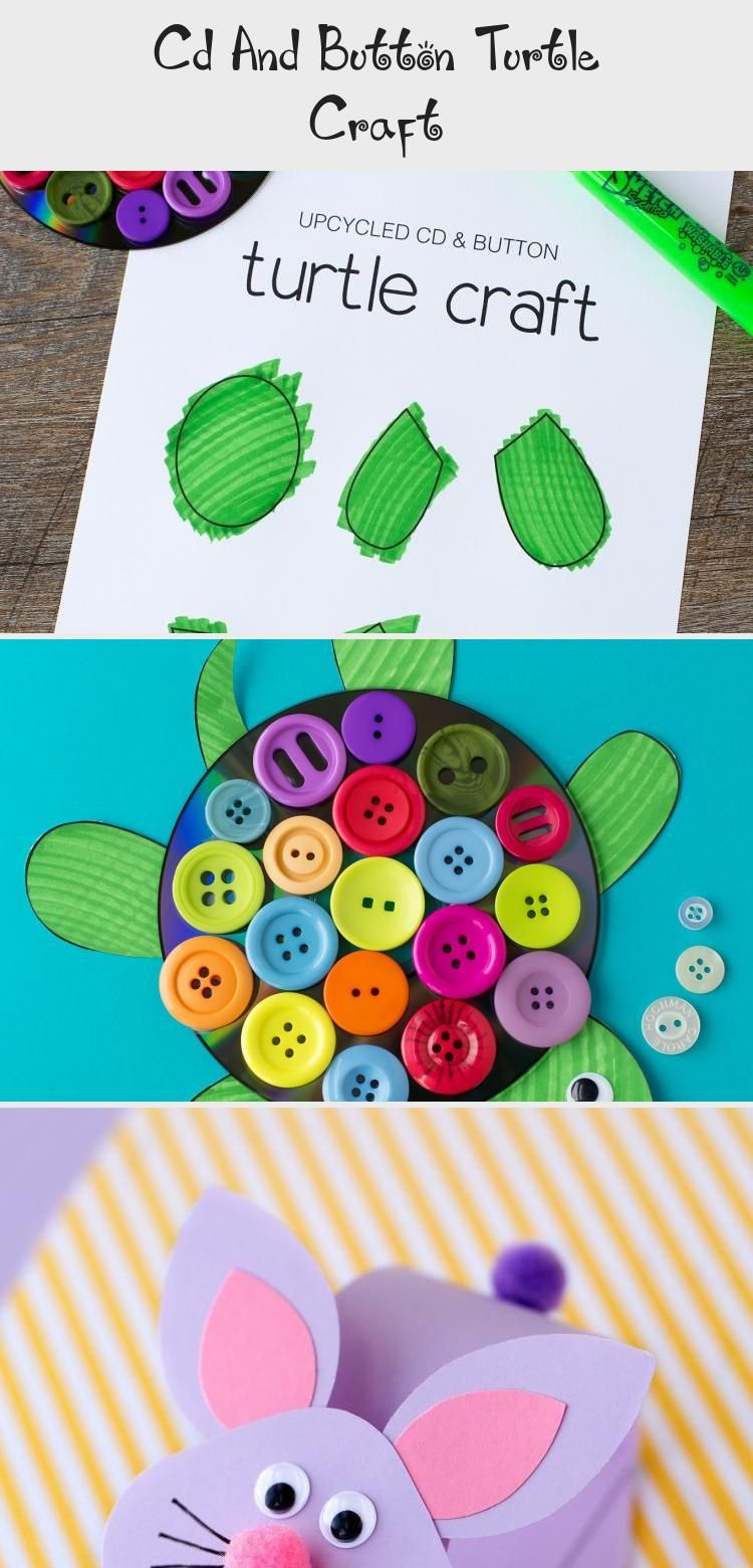 Cd And Button Turtle Craft #recycledcd