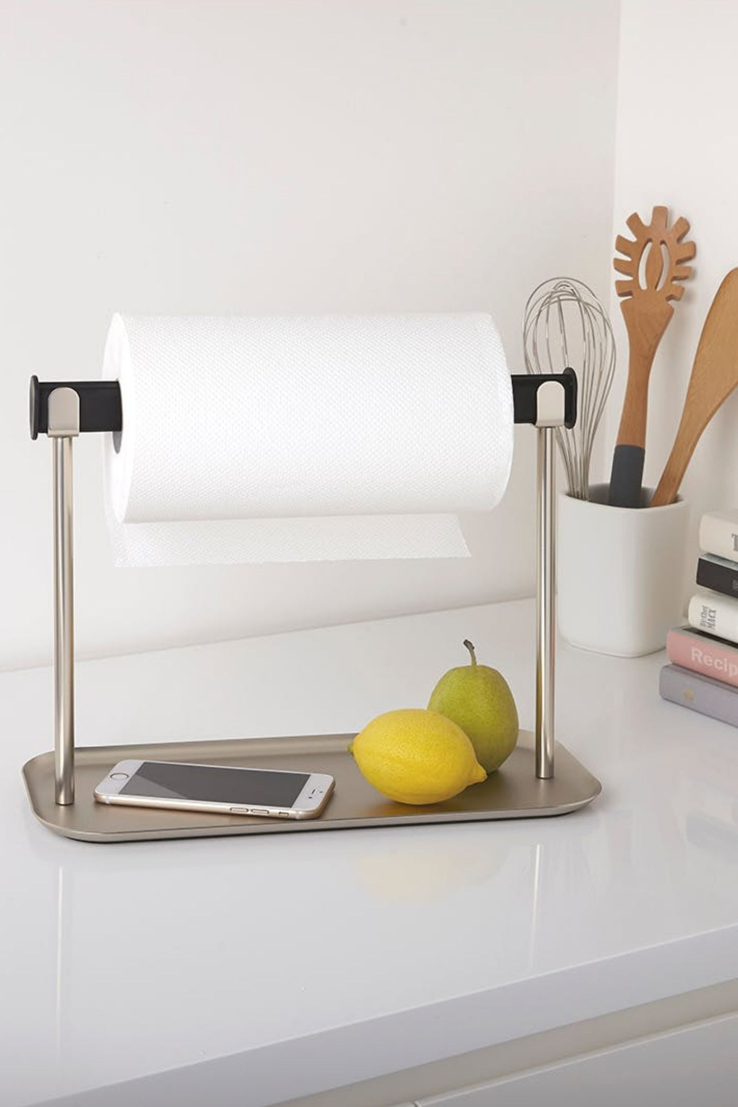 Limbo Paper Towel Holder With Tray Metal Paper Towel Holder
