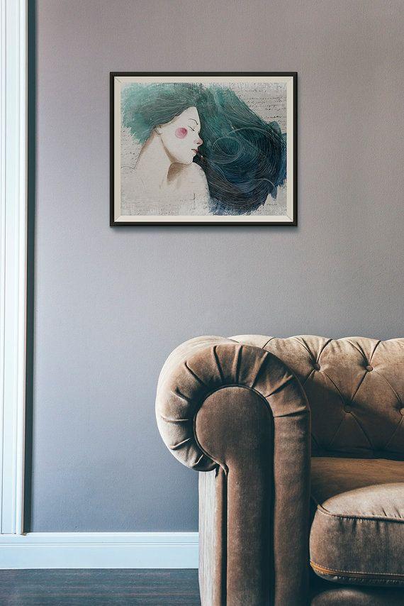 Ilustración digital de mujer de pelo azul: Tamaño para imprimir en A3: 297 x 420 mm 11,7 x 16,5 pulg