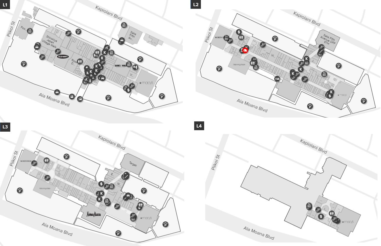 Ala Moana Center Map Ala Moana Center shopping plan   Mall maps in 2019   Ala moana