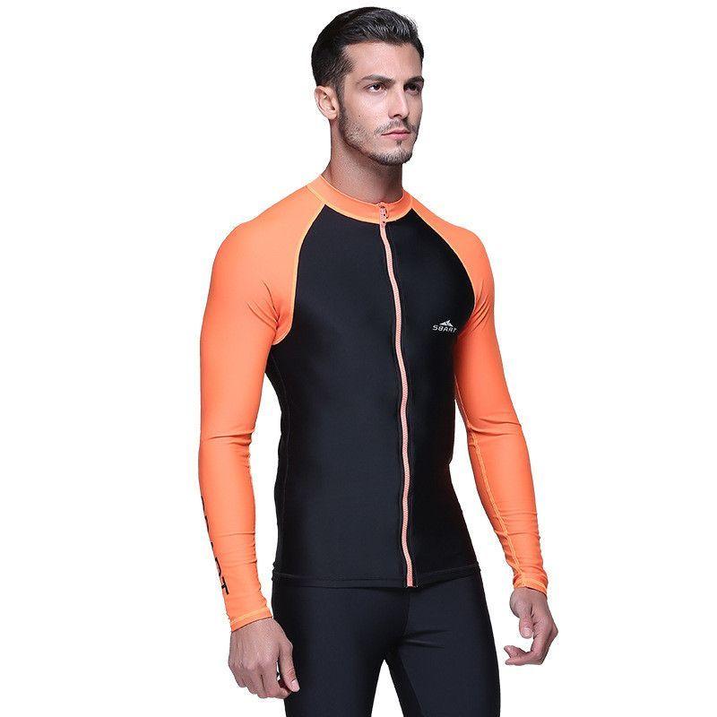0369005f99c98 SBART 2016 upf 50 Swim Rash Guard Men Long Sleeve Swim Shirts Anti UV  Rashguard Tops Zipper Plus Size Men Rashguard Jacket