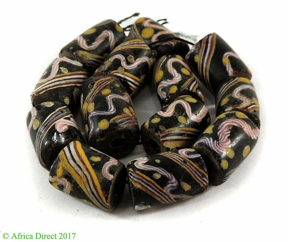 4 Venetian Trade Beads Black Striped Africa Loose 123400