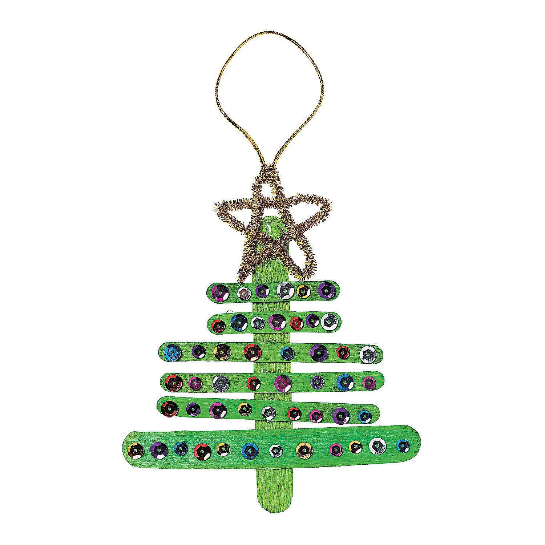 Craft Stick Christmas Tree Ornament Craft Kit Orientaltrading Com Kreativ Basteln Stabchen