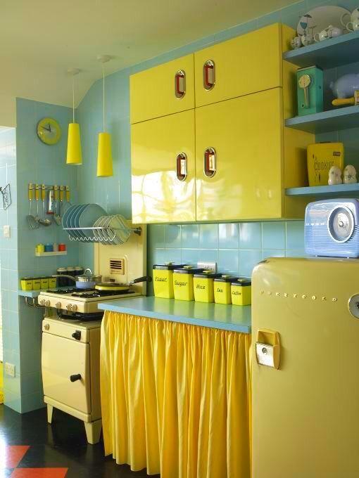 Yellow Aqua Retro Chic Kitsch Kitchens Neferast Kitschkitchens