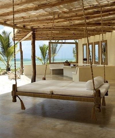 Swing Bed Outdoor Patio Swingbed Palmtrees Outdoor Hanging