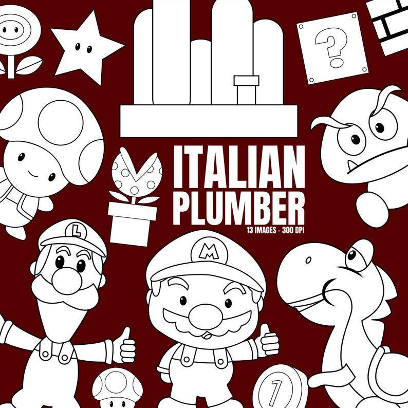 Italian Plumber Clipart Mushroom Clip Art Black And White