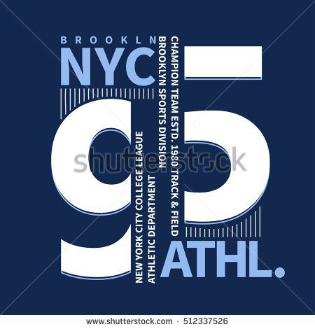 e0991270 New York Brooklyn Sport wear typography emblem, t-shirt stamp graphics, tee  print, athletic apparel design