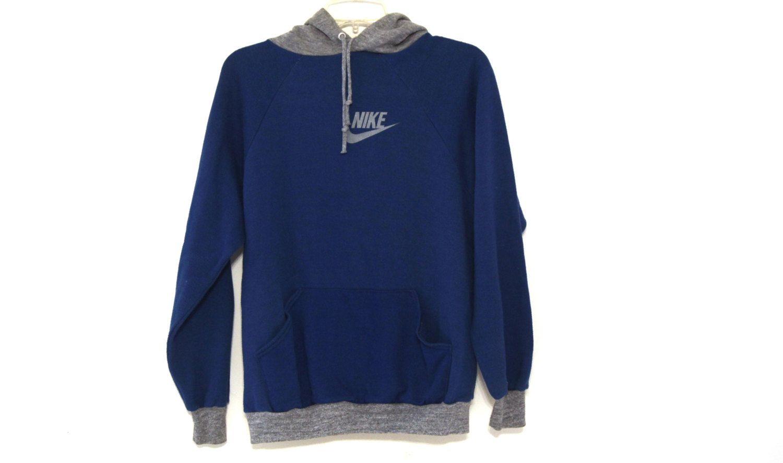 Vintage 80s Nike Hoodie Hooded Sweatshirt Heather Gray Blue Mens L Nike Hoodie Hooded Sweatshirts Hoodies [ 886 x 1500 Pixel ]