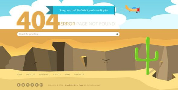 Grand 404 Animated Error Page Template | Template, Google fonts and ...