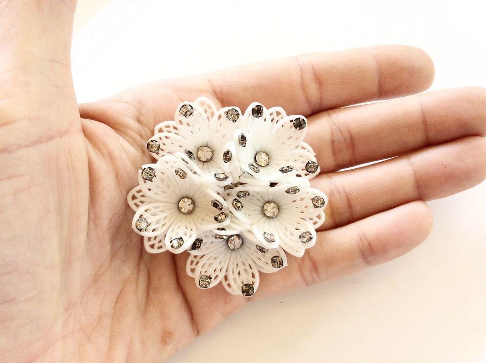 Kramer Flower Brooch Rhinestones Prong Set White Celluloid Lace Brooch Beautiful
