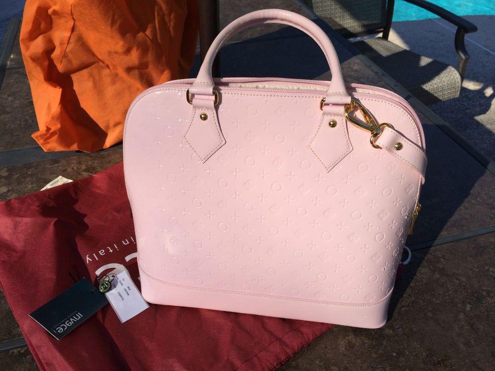 Invece Italian Soft Pink Patent Leather Handbag With Detachable Shoulder Strap Shoulderbag