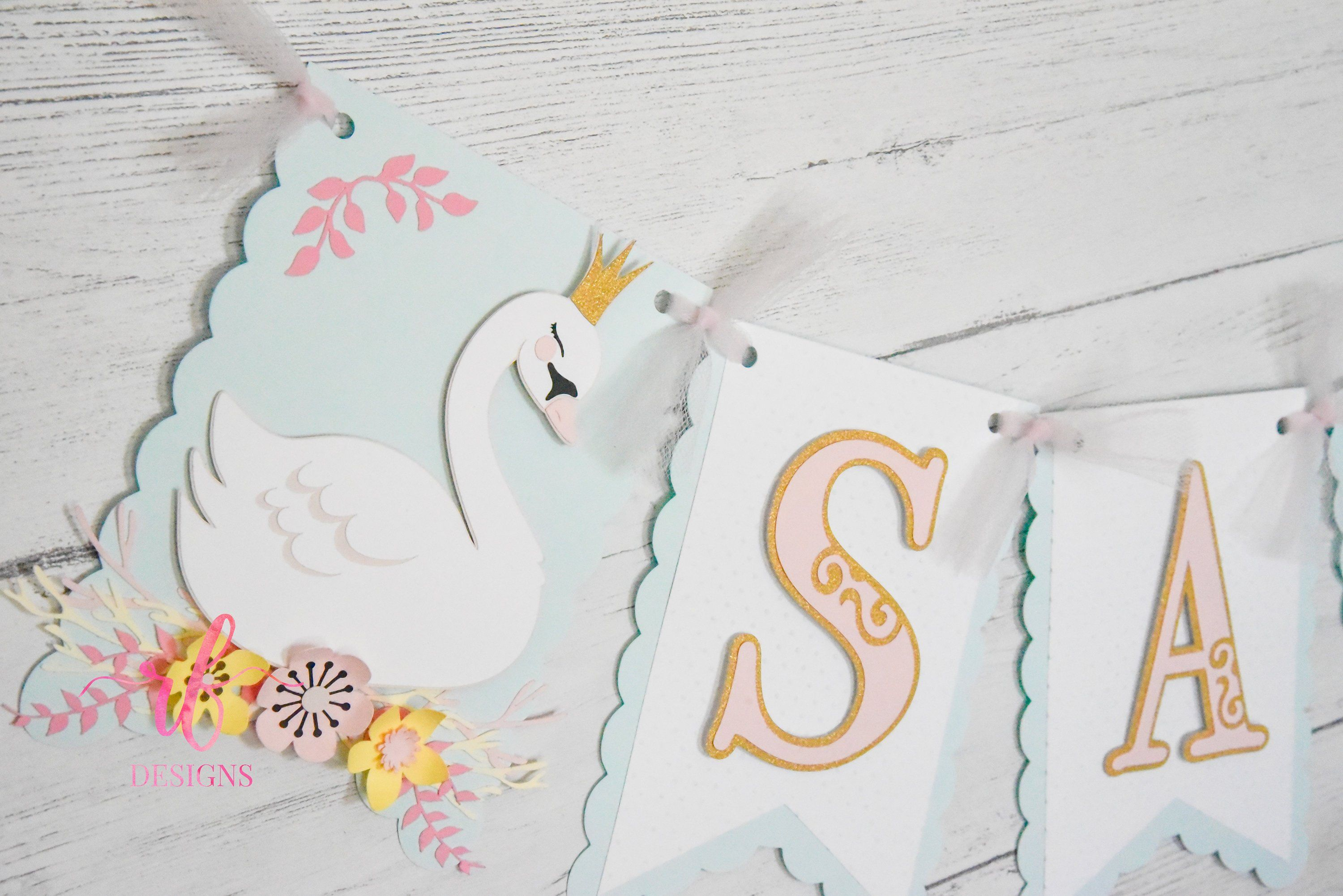 Personalised Birthday Bunting Cake Topper Pink and Gold Swans