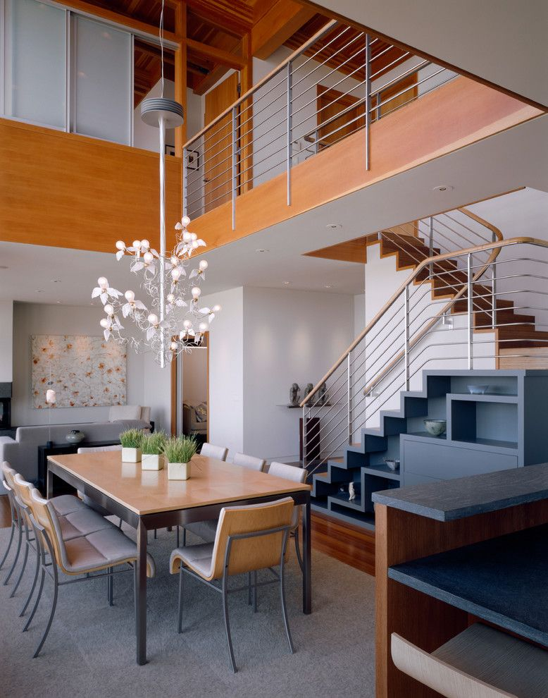 Best Dining Room With Staircase Dining Room Contemporary With 400 x 300