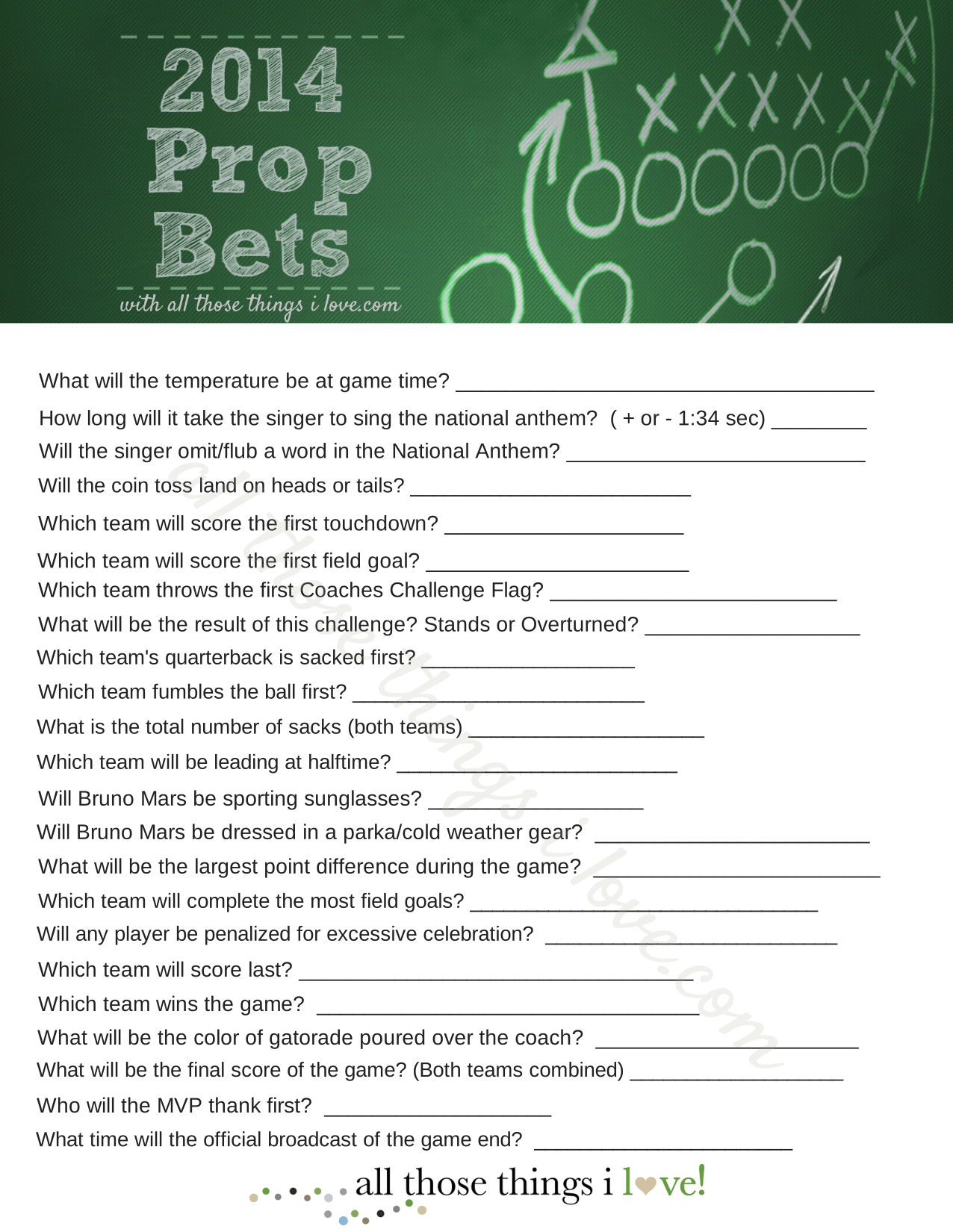 Free Super Bowl Party Games And Superbowl Prop Bets