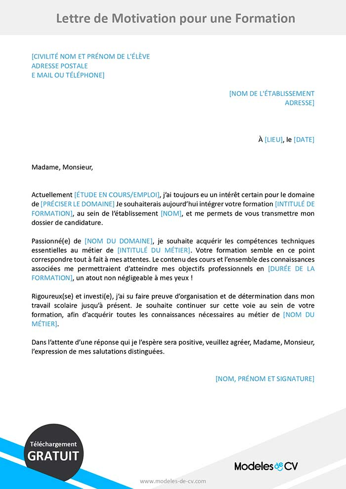 Exemple De Lettre De Motivation Pour Une Formation Gratuit Exemple De Lettre De Motivation Modele Lettre De Motivation Lettre De Motivation