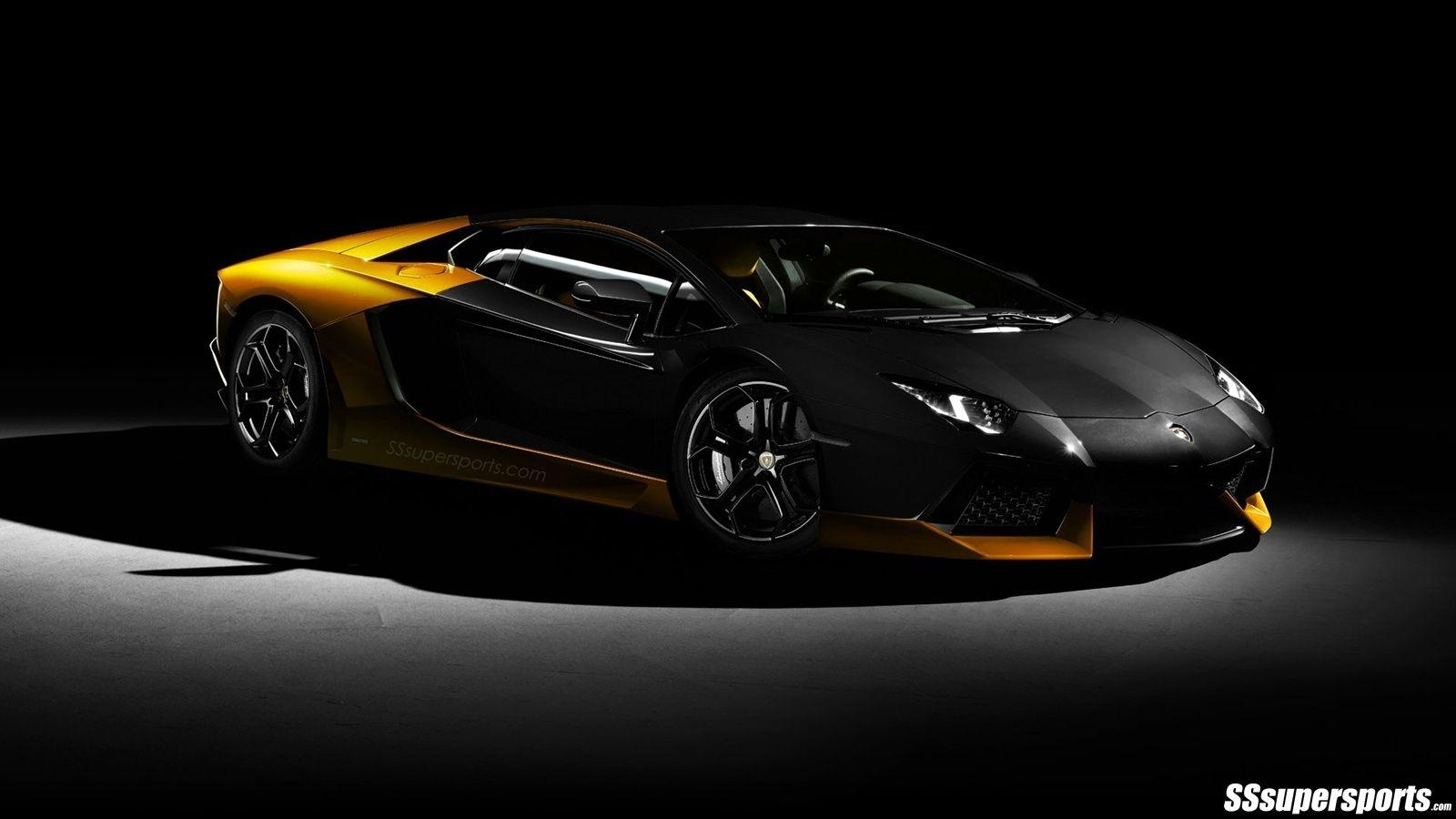 Yellow and Black Lamborghini Aventador pic.10