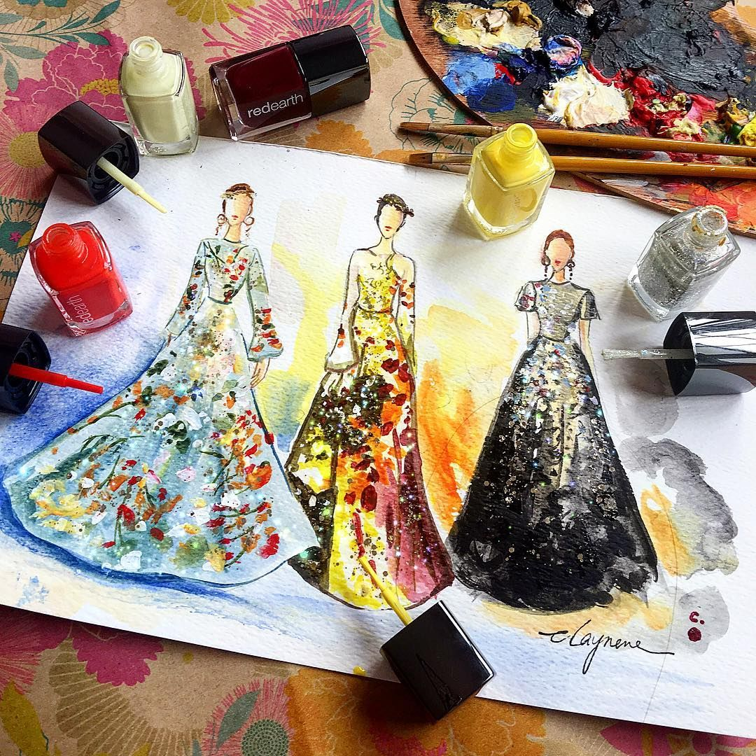 13 Stunning Fashion Sketches Created Using Nail Polish Instead Of Paint 0c9406218a5