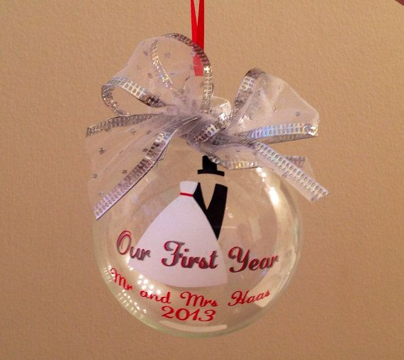 First Year Married Christmas Ornament - to say \