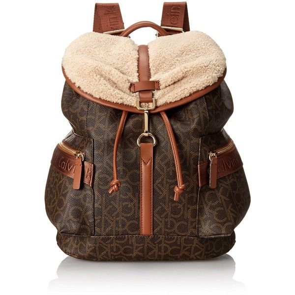 da9cc5aed1f21 Calvin Klein Shearling Logo Fashion Backpack ($111) ❤ liked on Polyvore  featuring bags, backpacks, shearling bag, knapsack bags, rucksack bag, calvin  klein ...