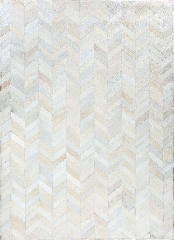 Smoked chevron by mosaic rugs luxury handcrafted ivory patchwork cowhide rug modern - Alfombras contemporaneas ...