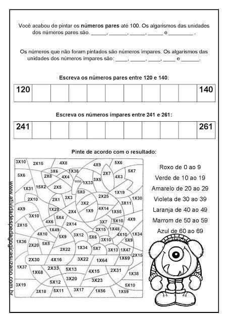 Revisao Matematica Par Impar Multiplicacao Ejercicios
