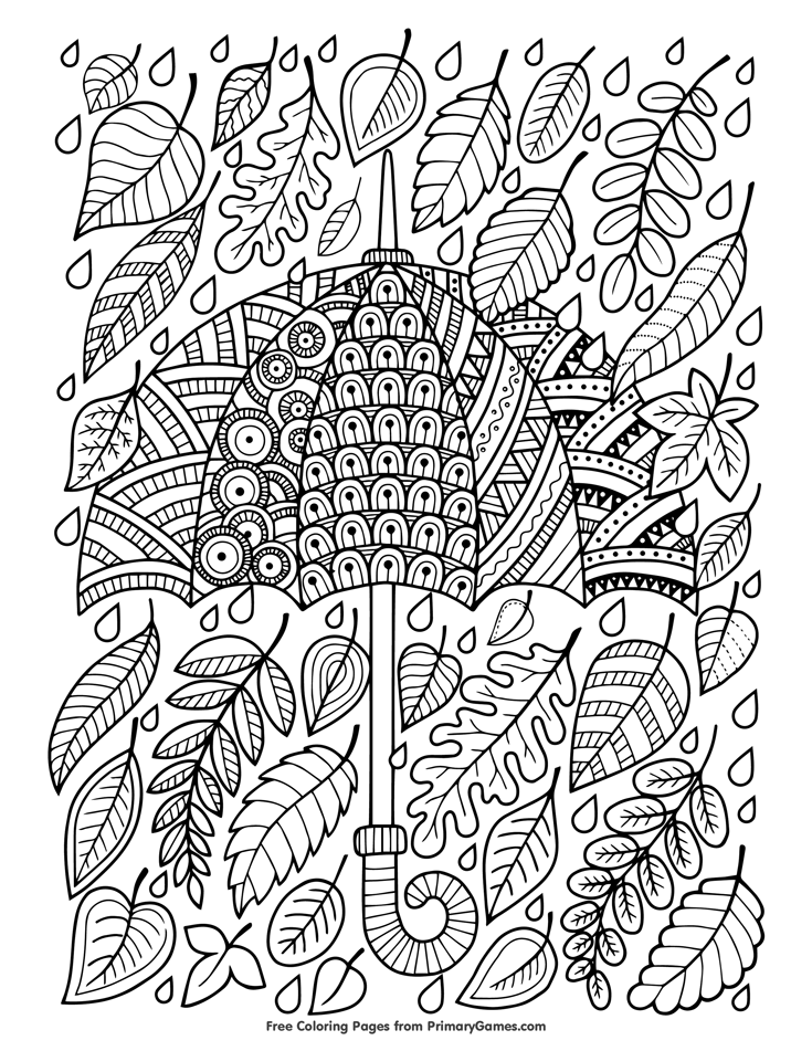 Fall Coloring Page Umbrella and Leaves Free printable