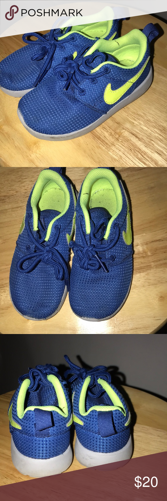 5adf8336942d1 Nike Roshe Run kids Kids 9c Roshe Runs Blue and green color Smoke   Animal  free home Great condition worn once Nike Shoes Sneakers