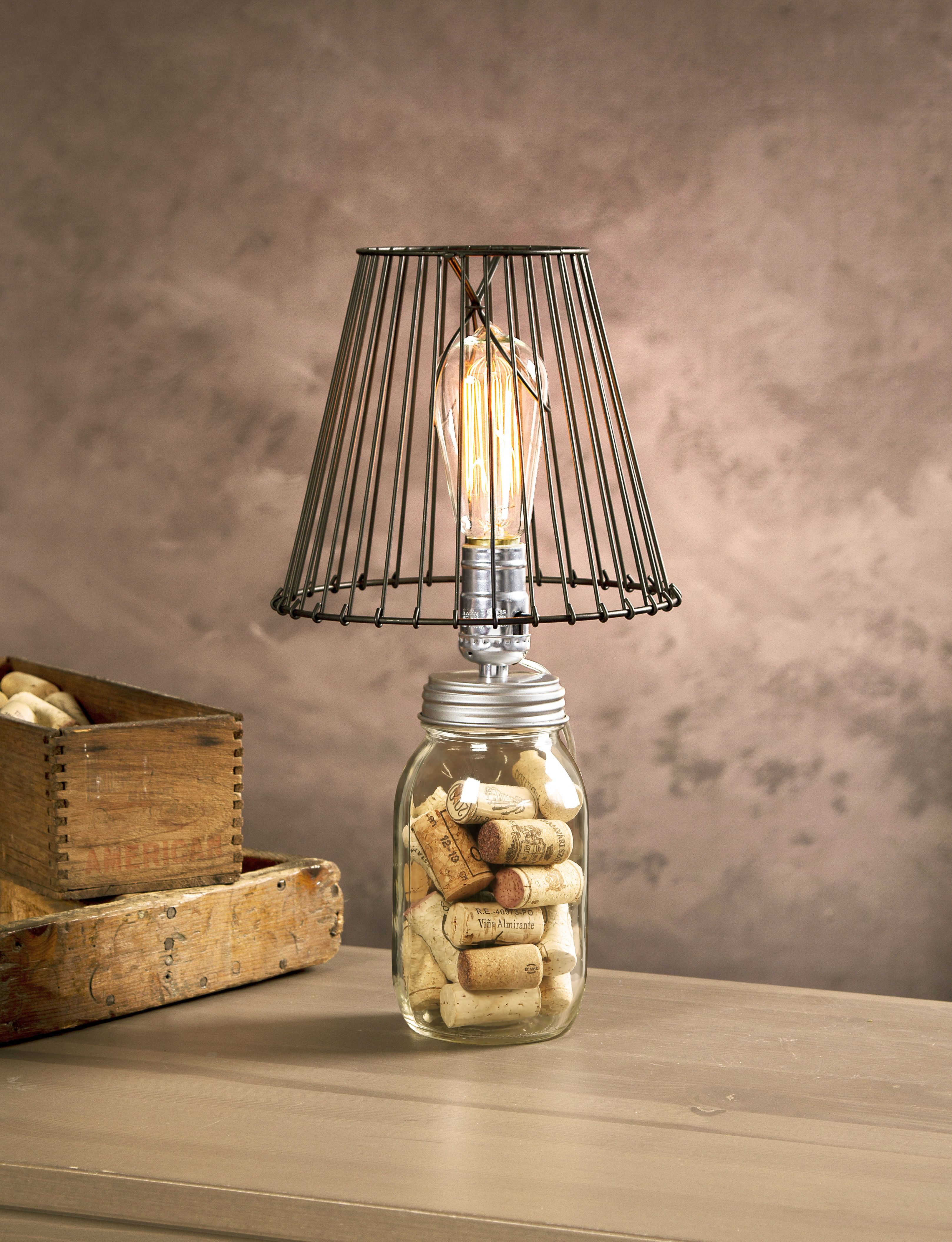 Glass Jar Lamp Shade Love This Edison Bulb And Wire Lamp Shade Look Repurposed Mason