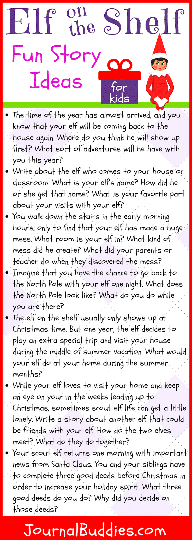 Elf On The Shelf Story Ideas Writing Prompts For Kids Elf On The Self Elf On The Shelf [ 2061 x 736 Pixel ]