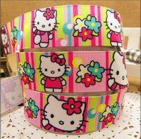 "Free shipping 1""(25MM) Hello Kitty Flower Printed single face Webbing Belt Grosgrain Cartoon Ribbon Kids DIY Handmade Materials"