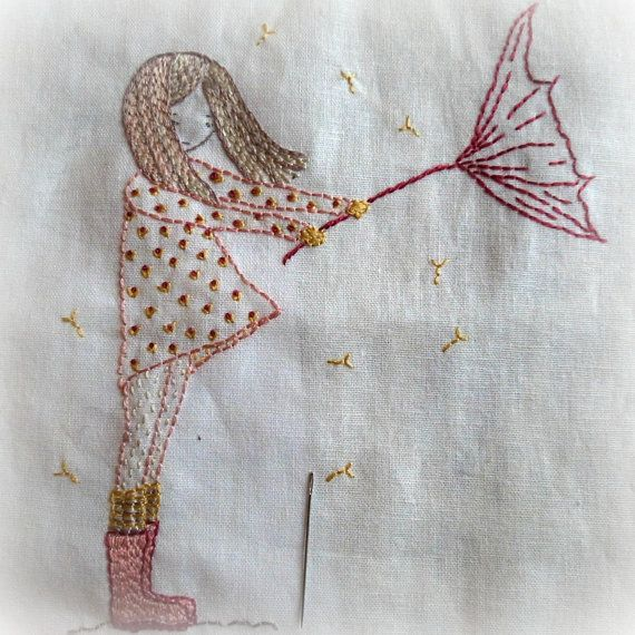 Umbrella girl hand embroidery pattern pdf simple