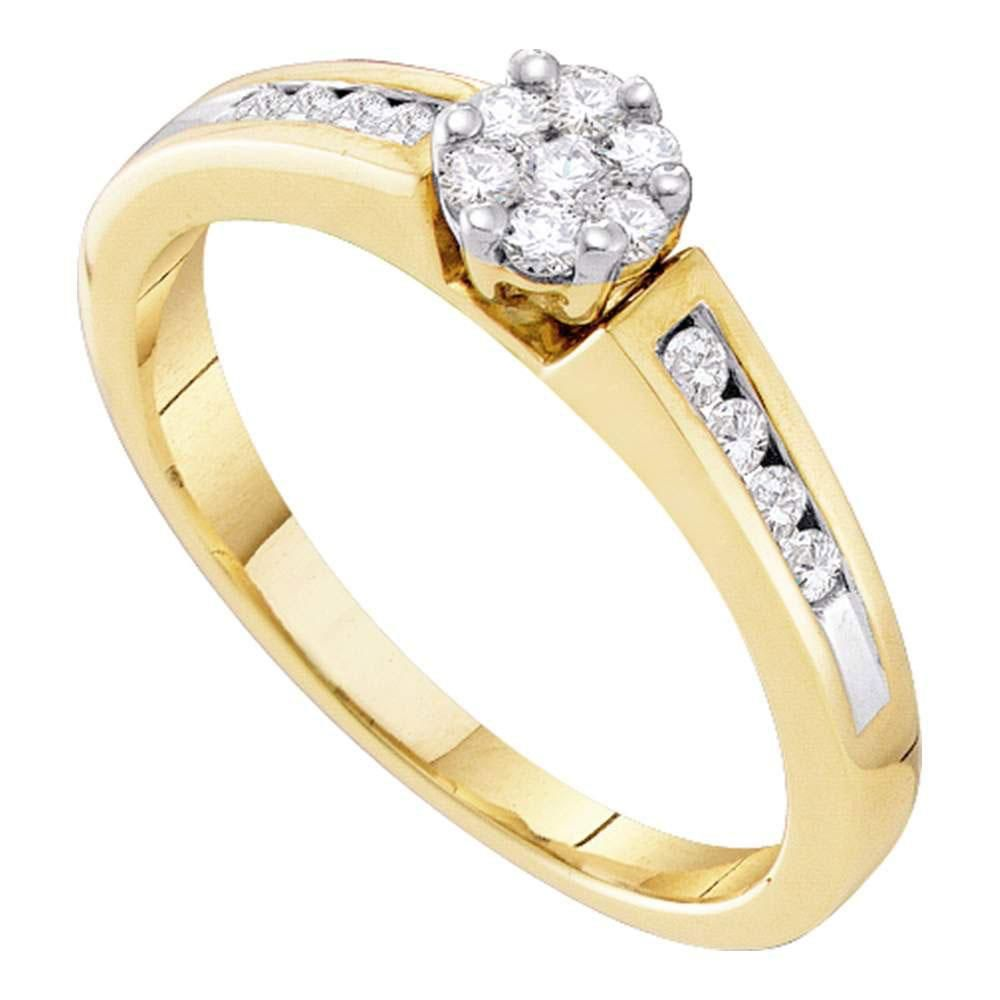 flower diamond rings yellow gold