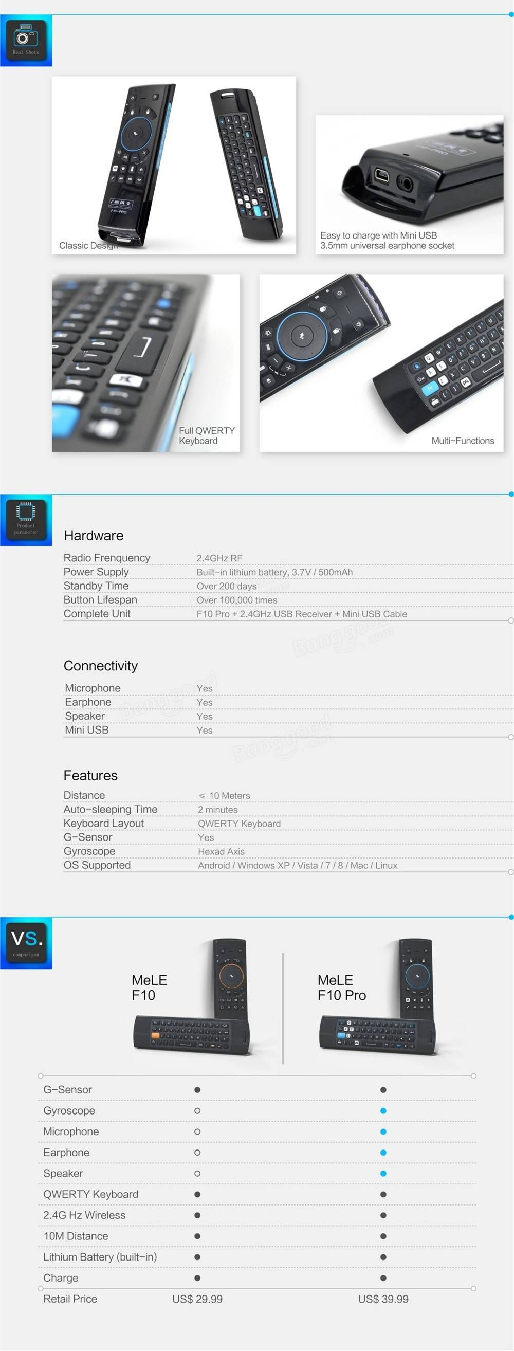 The description of MeLE Air Mouse F10 Pro Wireless