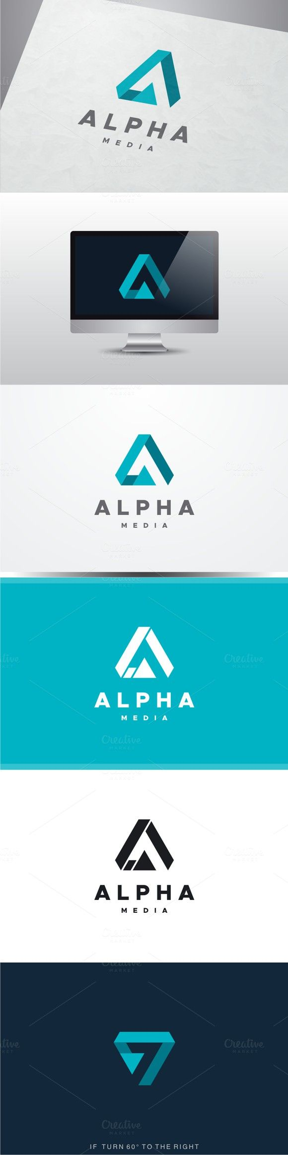 Alpha Media - Letter A Logo. Technology icons. $30.00